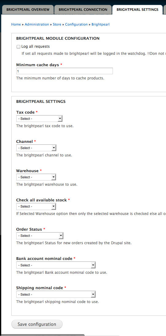 brightpearl settings tab
